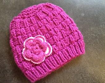 Knit Toddler Hat/Knit Girl Hat/Girls Knit Hat/Kids Knit Hat/Pink Knit Hat/Hand Knit Hat?Children Hat