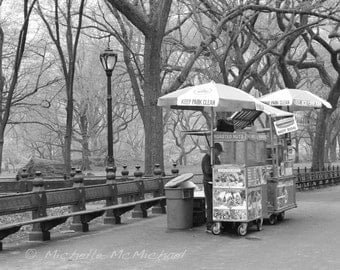 "Central Park, New York Photography, 8x10 Fine Art Print, Black and white, ""Roasted Nuts"", home decor, Street food stall"