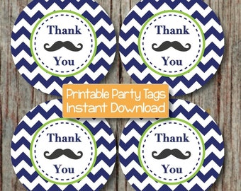 Little Man Mustache Bash Thank You Favor Tags Baby Shower Birthday Party Printable Favor Labels Tags DIY Stickers Navy Blue Lime Green - 098