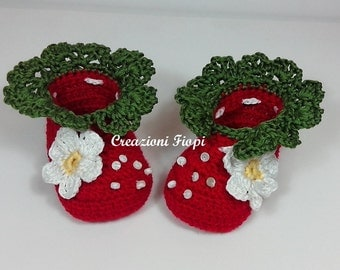 Crochet Baby Strawberry Shoes /Booties/Slippers/ PATTERN 230/ Size 0-12 Months /Tutorial / Instant Download /Permission sell finished item