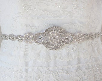 ALYSSA - Vintage Inspired Wedding Rhinestone And Pearl Belt, Crystal Bridal Beaded Sash, Bridal Belts, Bridal Accessory
