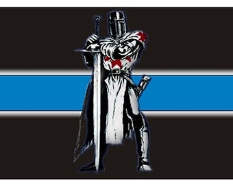 Thin Blue Line Blue Knight Reflective Decal SKU: D1109-D2X3