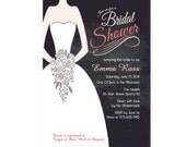 Chalkboard Bridal Shower Invitation DIY PRINTABLE Digital File or Print (extra) Wedding Dress Bridal Shower Invitation Wedding Shower