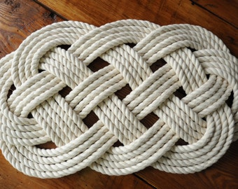 Rope Rug - Bath Mat - Smaller Cotton Rope Mat - Nautical Decor - (23 x 12)