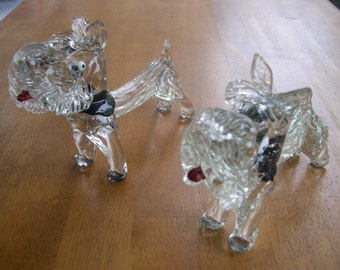 TWO Crystal or Glass Scottish Terrier Dogs