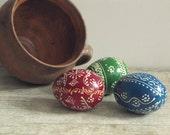 Ukrainian Vintage Easter Eggs - Set of 2 handpainted wooden eggs - handmade solid wood egg Pysanka - traditional holiday decor