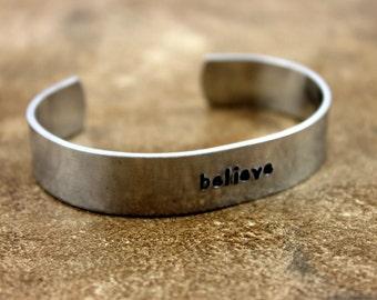 Believe Bracelet / Cancer Survivor Bracelet / Breast Cancer Gift / Custom Hand Stamped Aluminum Bracelet / Inspirational Bracelet