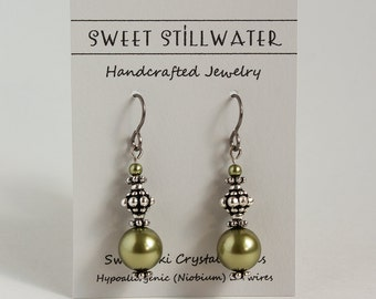 Green Earrings, Light Green Earrings, Crystal Pearls, Hypoallergenic (Niobium) Earwires
