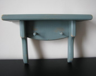 Wood Shelf with 2 Pegs Painted Bluish Green Shabby Cottage Home Style