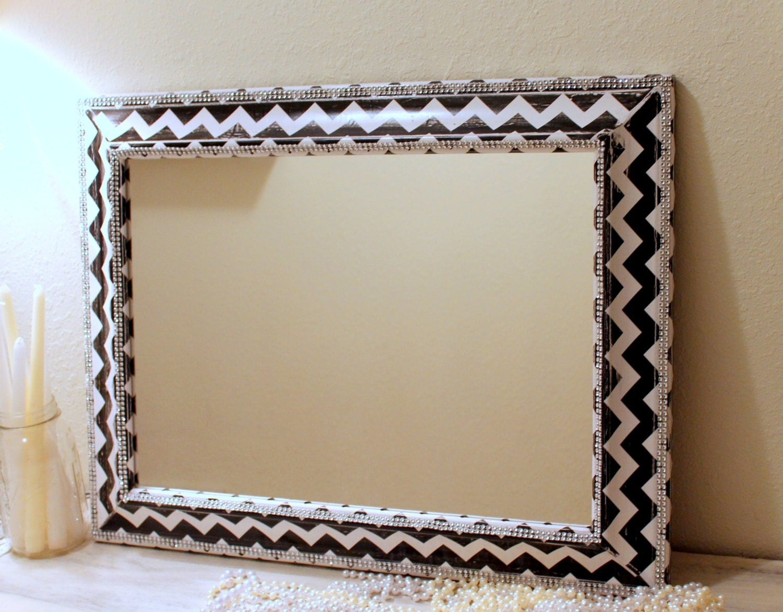 chevron mirror large mirror black and white chevron girly. Black Bedroom Furniture Sets. Home Design Ideas