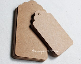 Rectangle Scallop Kraft Cardboard Paper Gift Tag - Set of 25