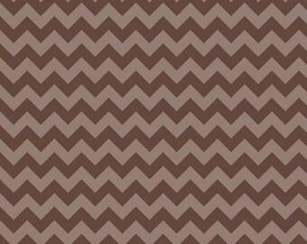 Chocolate Brown Chevron Small Tone on Tone Riley Blake Cotton Fabric Chocolatr Brown