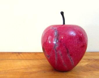 Vintage Marble Apple Paperweight Red Apple Marble Fruit