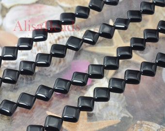 Black Onyx,smooth square,8x8mm,beads,15 inches