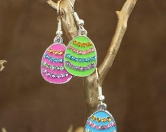 Rhinestone egg earrings