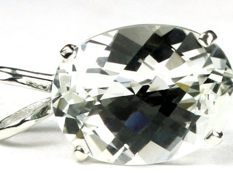 Silver (White) Topaz, 925 Sterling Silver Pendant, SP004