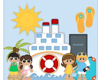 DIGITAL SCRAPBOOKING CLIPART - Vacation Caribbean Cruise