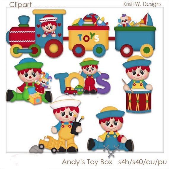 Toy Box Clip Art : Items similar to digital scrapbooking clipart andy s toy