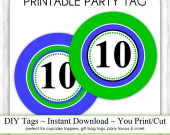 Instant Download - Blue and Green Party Tags, 10th Birthday Party Tags, DIY Cupcake Topper, You Print, You Cut