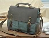 blue-green canvas messenger bag , canvas leather bag , student bag , clutch bag , travel bag , Diaper bag , bags,crossbody bag