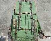 big armygreen Leather Canvas backpack, vintage Canvas handbag, Student Canvas bag ,Leisure Packsack ,canvas  shoulder bag,school bag