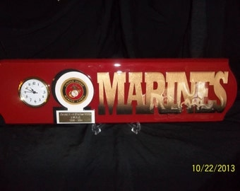 Marines  clock with FREE engraving and FREE shipping