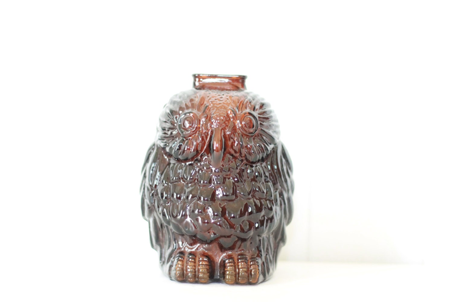Vintage wise old owl bank amber glass by bazardelpasado - Wise old owl glass bank ...