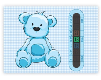 A6 Nursery and Childrens Blue Teddy Bear Baby Room Thermometers