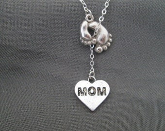 Footprint Mom Necklace - Lariat Style
