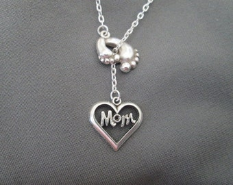 Footprint Open Heart Mom Necklace - Mother's Day