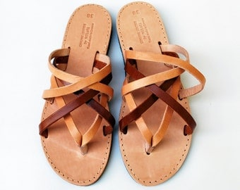Natural Brown / Dark Brown Leather Women Sandals