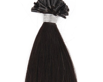 22inc 100grs,100s,Nail (U) Tip Human Hair Extensions 1B Off Black
