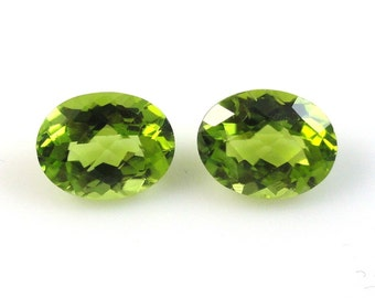 9x7mm Natural Quality Peridot Oval Beautiful Lime Green Color or as a Stud Earring in 14k Yellow Gold (2179)