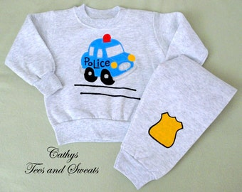 Police Car Sweat Set, Childrens Clothing,Police Sweat Shirt, Police Car Outfit, Handpainted Police Car, Sweat Shirt