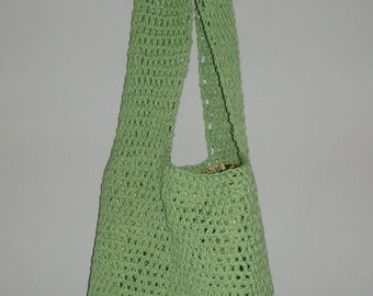 Green cotton Crochet bag(SALE)