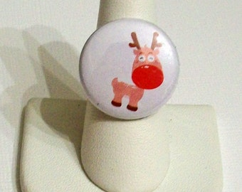 SALE Adorable Red Nose Reindeer Rudolph Inspired Fashion Ring Adjustable Band