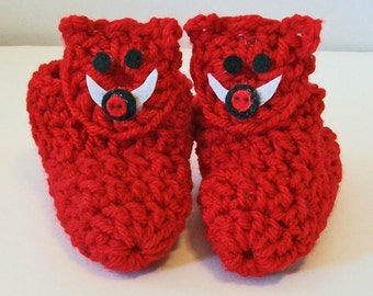 Adorable Hand Crocheted Baby Bootie Shoes Bright Red Razorback Hog Arkansas Inspired Great Photo Prop Matching Hat & Bib Also Available