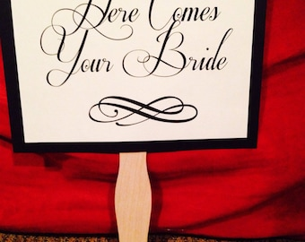 Elegant Wedding Sign, Here Comes the Bride / Just Married