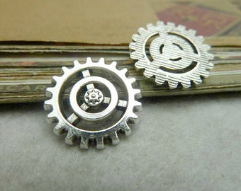 15pcs 18mm Ancient Silver gear  Charms Connectors