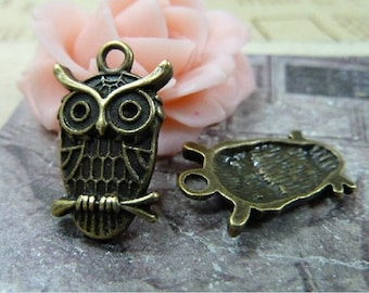 10pcs 14×22mm antique bronze retro style owl charm pendant