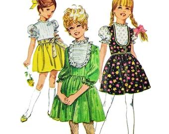 Vintage 60s Girls Dress Pattern Simplicity 8073 Girls Size 12 Dress Pattern Full Skirt Puff Sleeve Dress & Vest Pattern 1960s Sewing Pattern