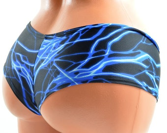 Neon Blue UV GLOW Lightning Print Ultra Cheeky  Booty Shorts Hot Pants!-E7622