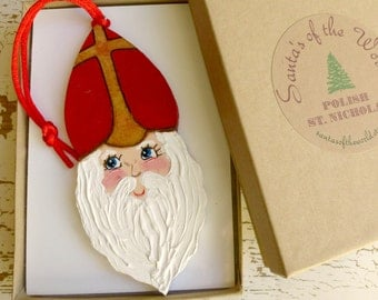 Polish St. Nicholas, Secret Santa Gift, Christmas in Poland, Christmas Tree Decoration