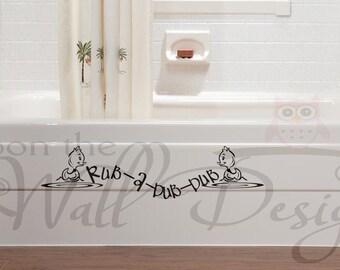 Rub-a-Dub-Dub Children's Bathroom Vinyl Wall Decal