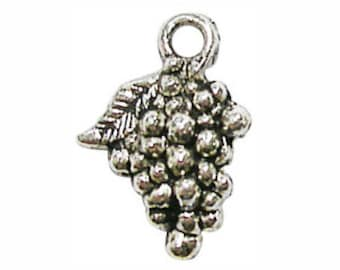 12 pcs - Cluster of Silver Grape Charm 18x12mm - Ships from Texas by TIJC - SP0733
