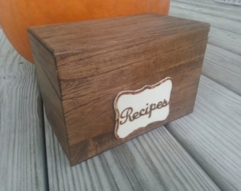 rustic recipe box,  rustic kitchen  decor,  personalized recipe box