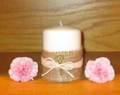 Burlap Wedding Candle / Rustic Wedding Lighting / Rustic Wedding Decor /  Country Wedding Decoration / Barn Wedding / Skeleton Key Decor / 2
