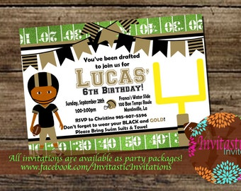 Football Birthday Invitation - NFL, NCAA Can match any team colors - New Orleans Saints, LSU Tigers  Football Boys Birthday Invite