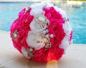 Beautiful FUCSIA, WHITE Paper Flowers Wedding Bouquet. Brooches bouquet, Handmade Wedding