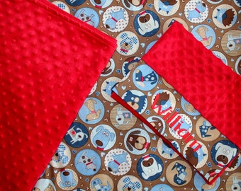Boys Nap Mat Cover - Puppies - Choose Your Colors - Red - Brown - Blue - Kindermat - Back To School - Pillowcase - Blanket - Minky